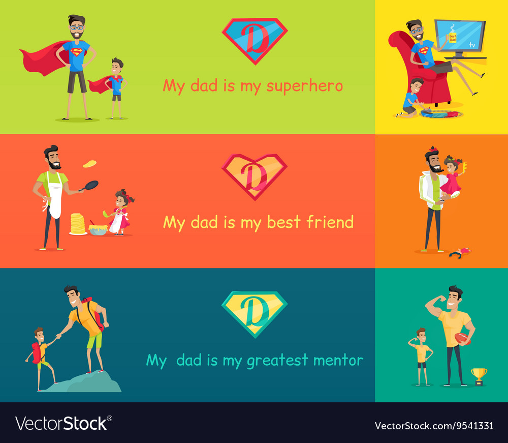 Super dad with his kids vector