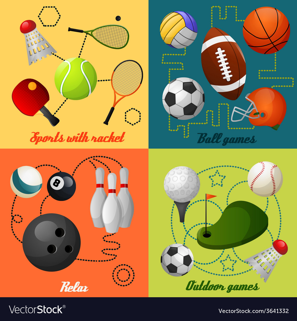 Sports 4 flat icons composition vector
