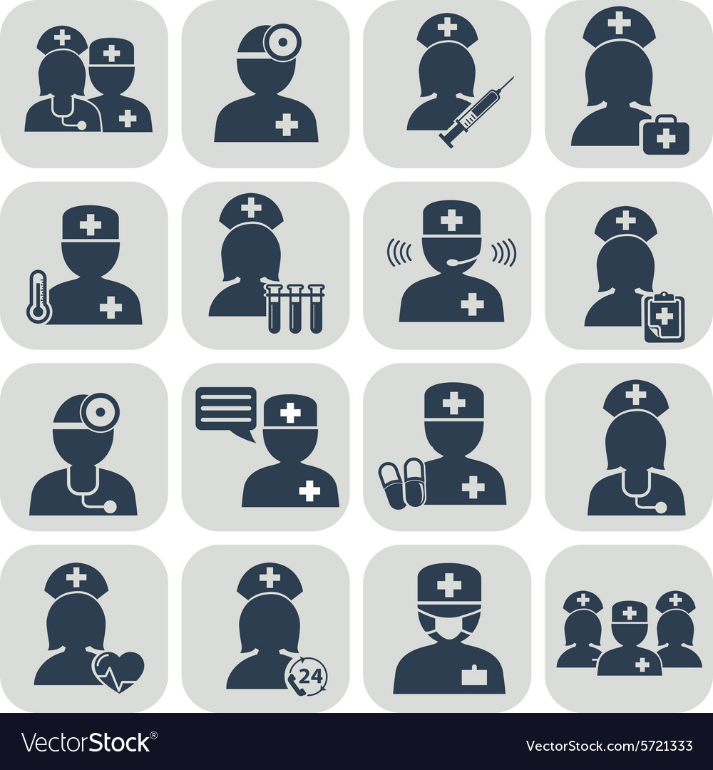 Doctor and nurses icons vector