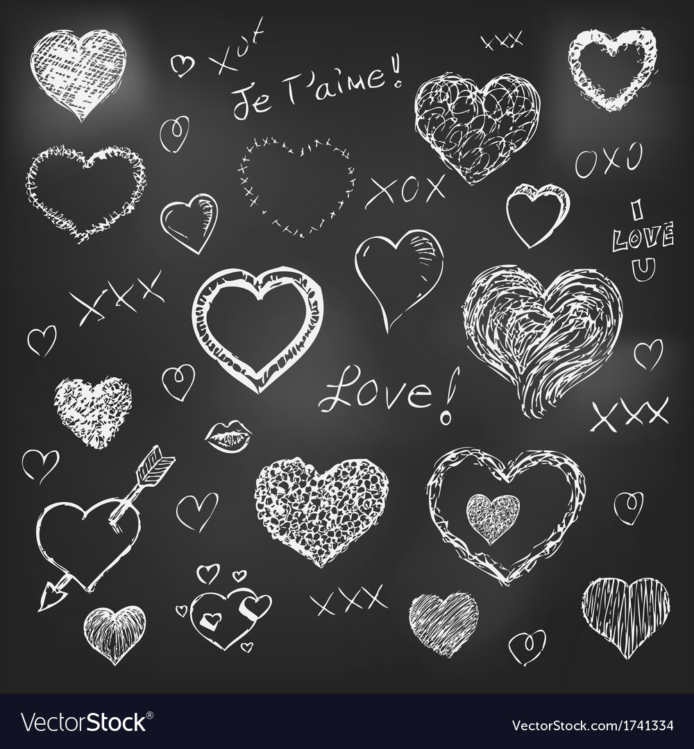 Set of hand drawn hearts on chalkboard background vector