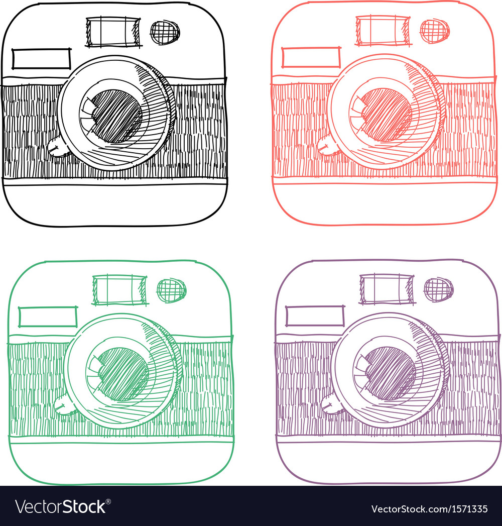 Handrawn instagram icons vector