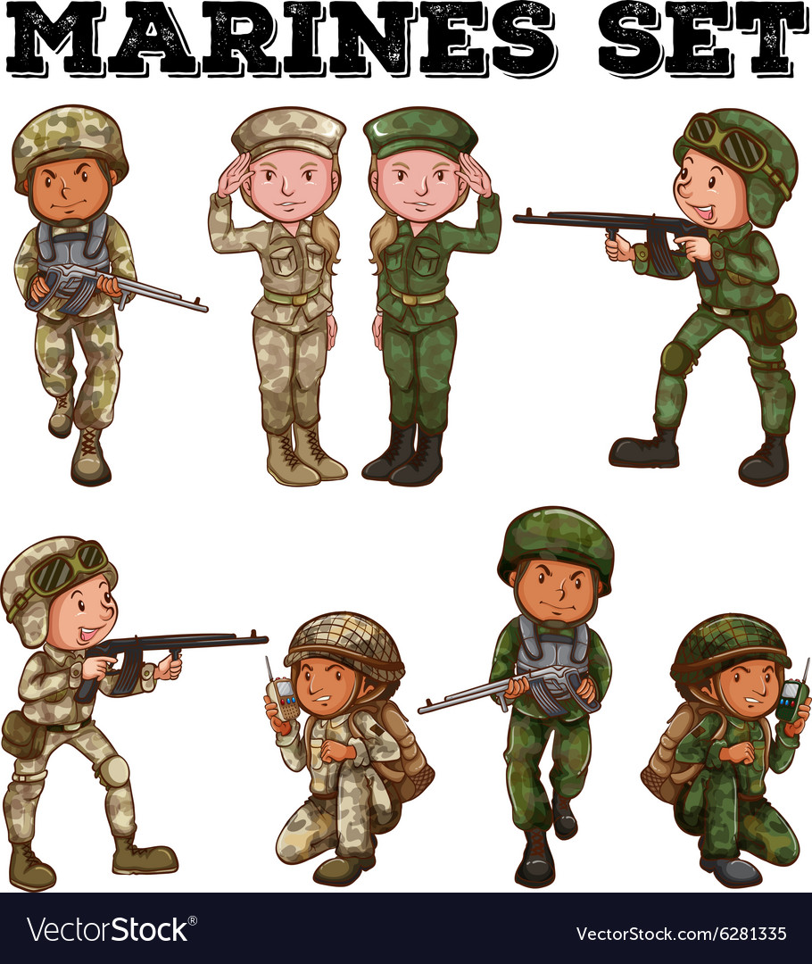 Man and woman in soldier uniforms vector