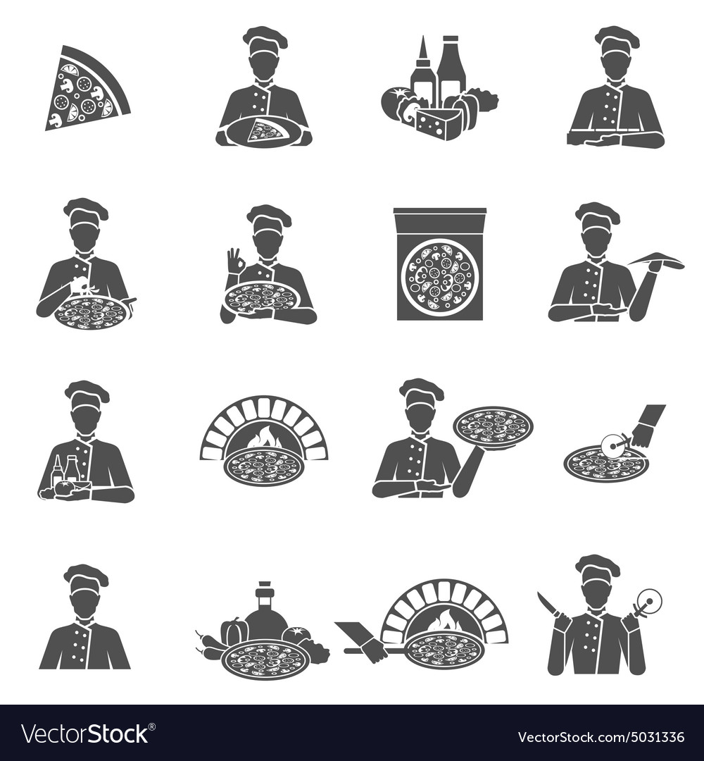 Pizza maker icons vector