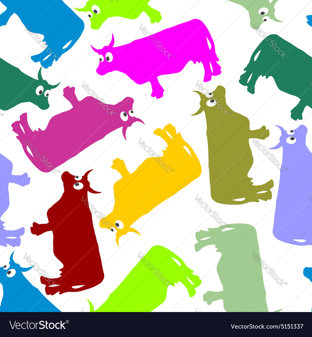 Cow color seamless ornament pattern of animals vector