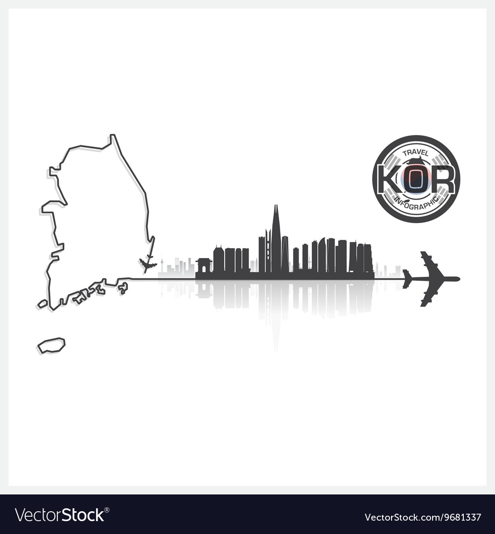 Republic of korea skyline buildings silhouette vector
