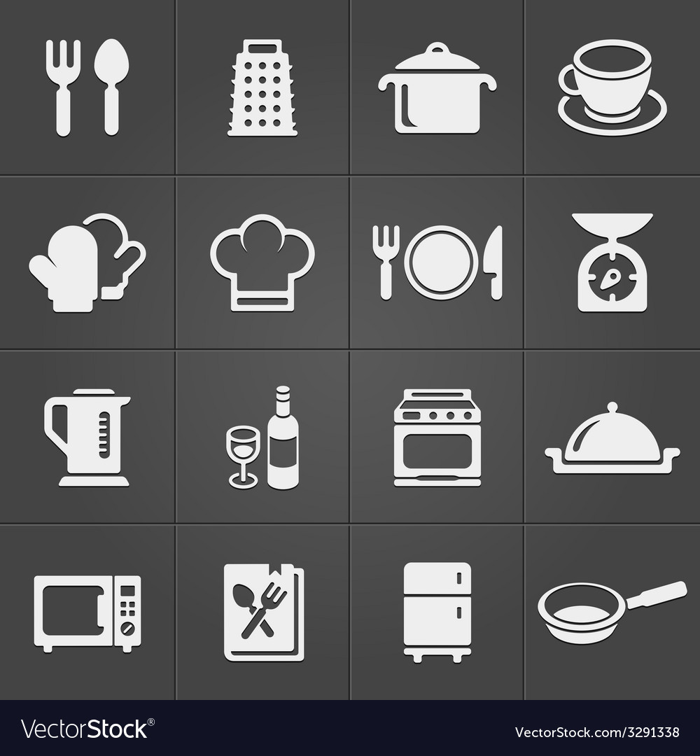 Kitchen icons on black background vector