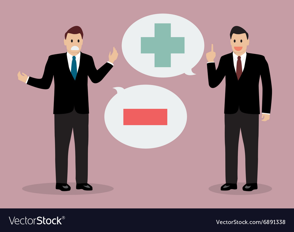 Two businessman with positive and negative vector