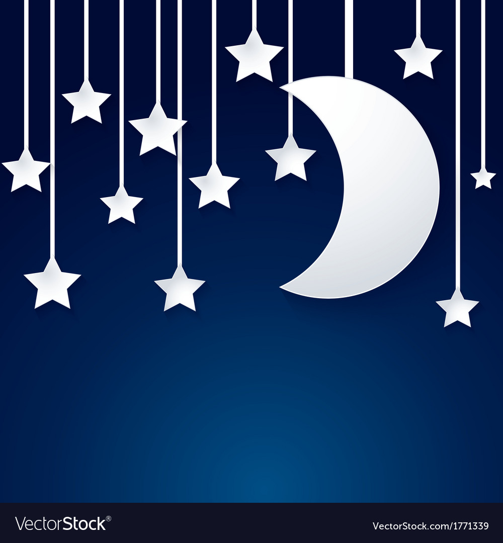 Moon and star paper vector