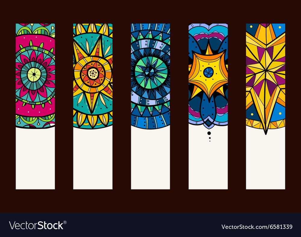 Set 2 of banners with hand drawn mandalas vector
