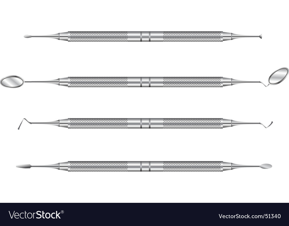 Detailed set of dentist tools vector