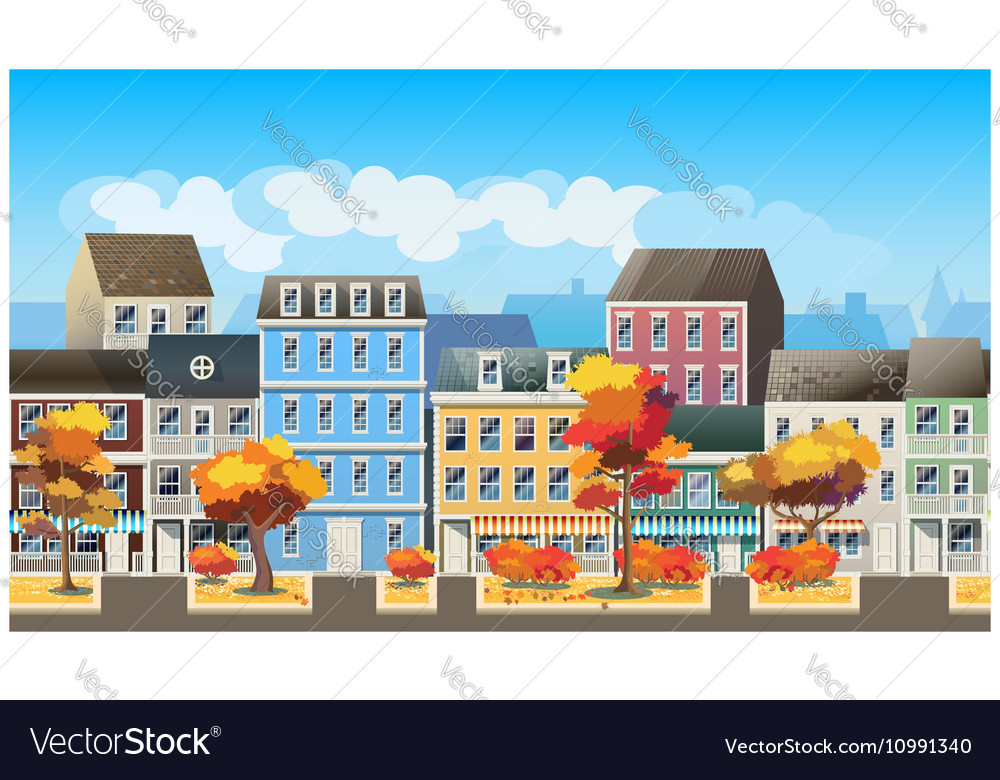 Old town in autumn vector