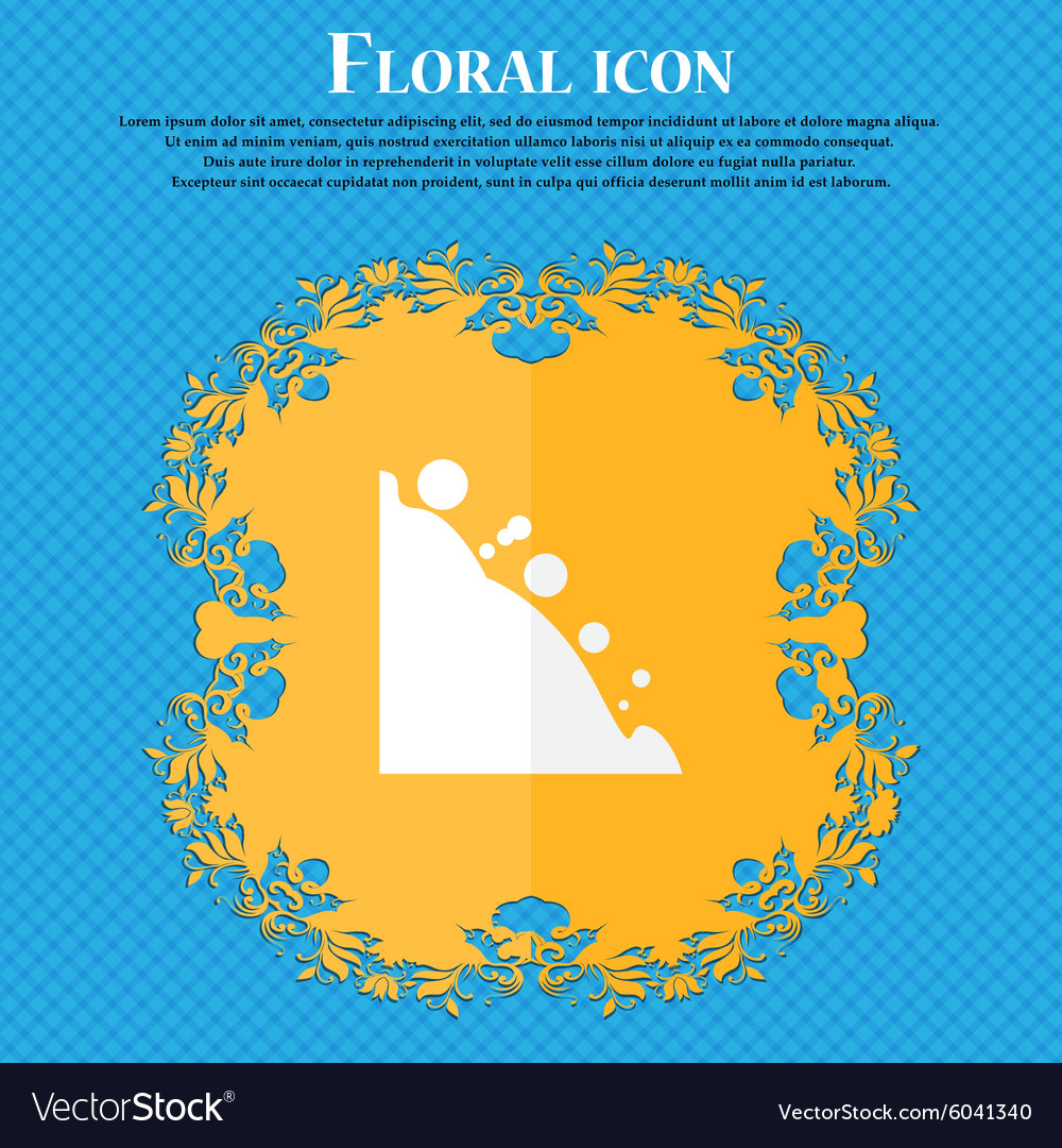 Rockfall icon floral flat design on a blue vector
