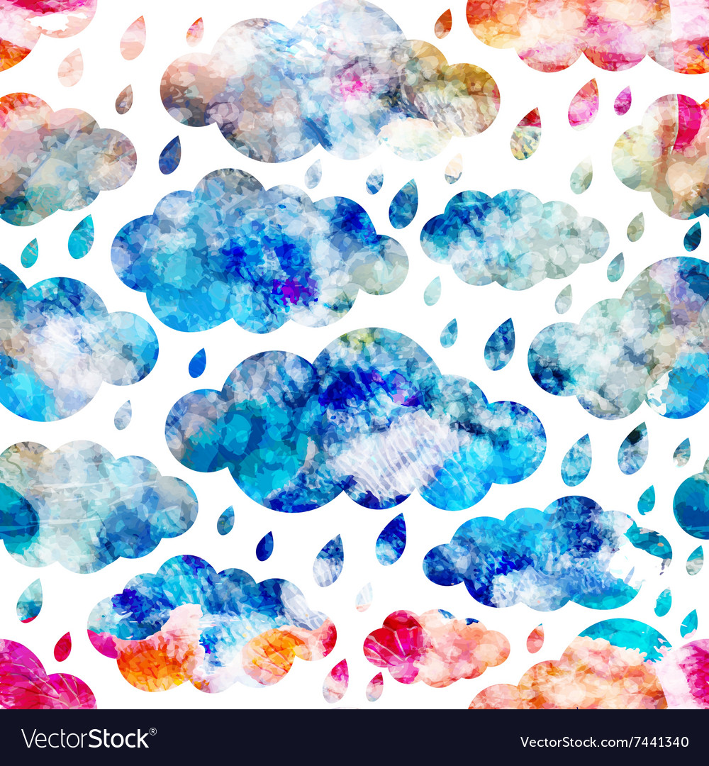 Seamless pattern with clouds rain autumn vector