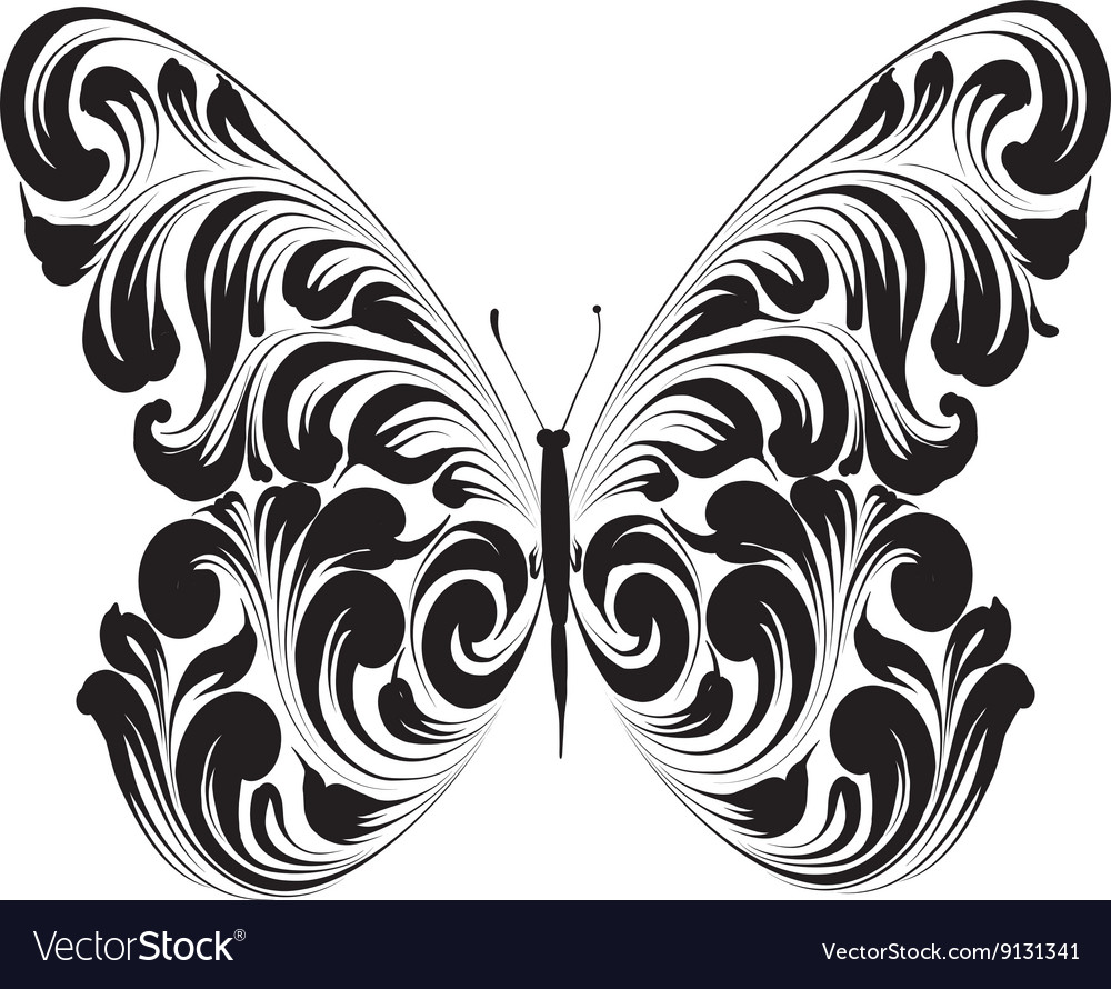 Butterfly of the ornament vector