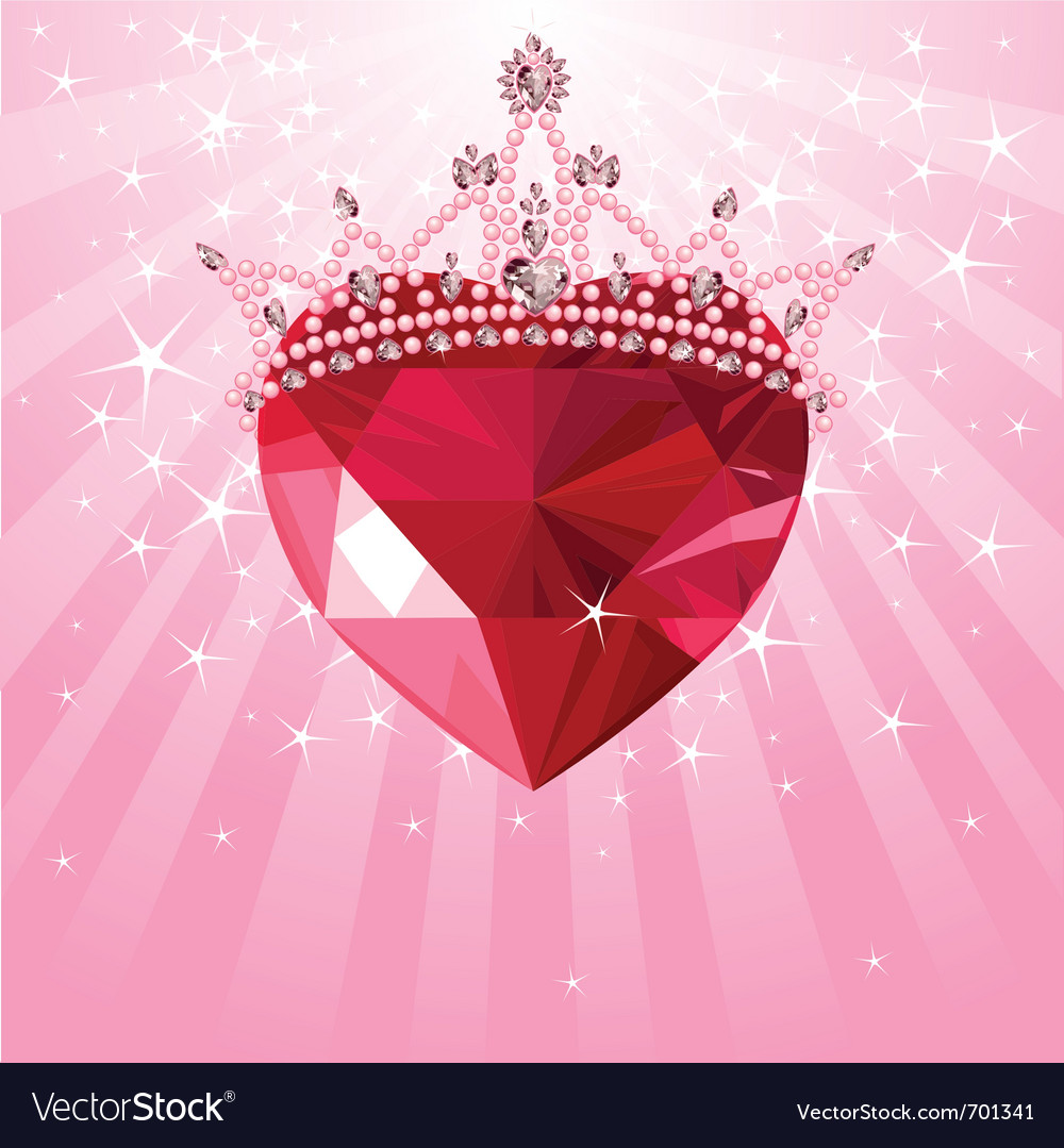 Shiny crystal with princess crown vector