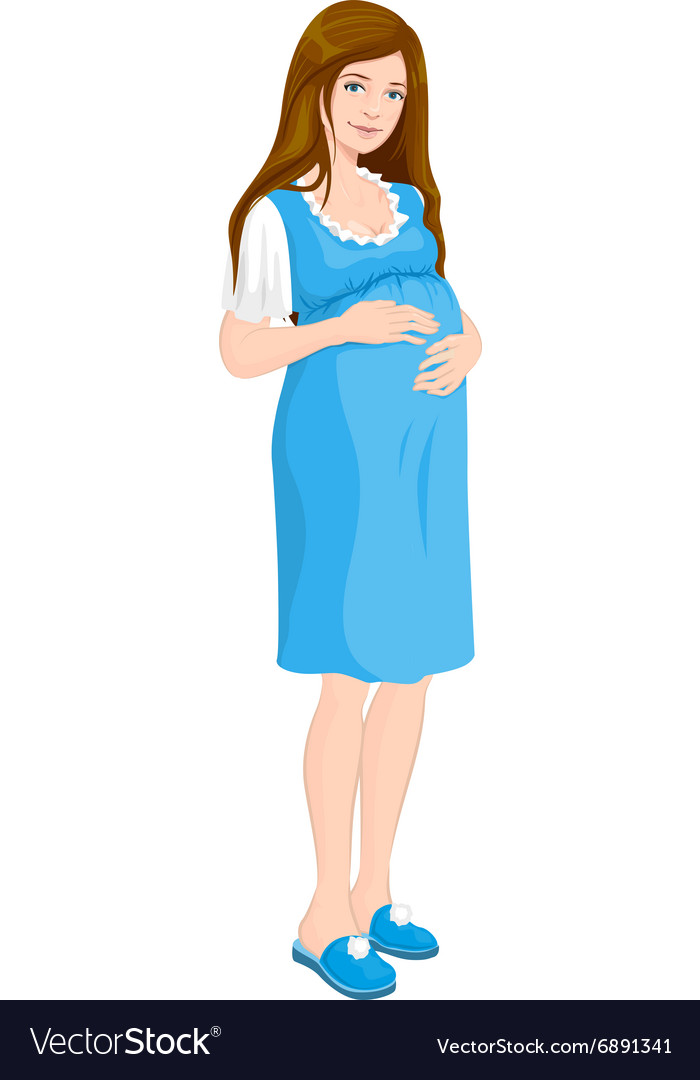 Young pregnant woman holds her hands on stomach vector
