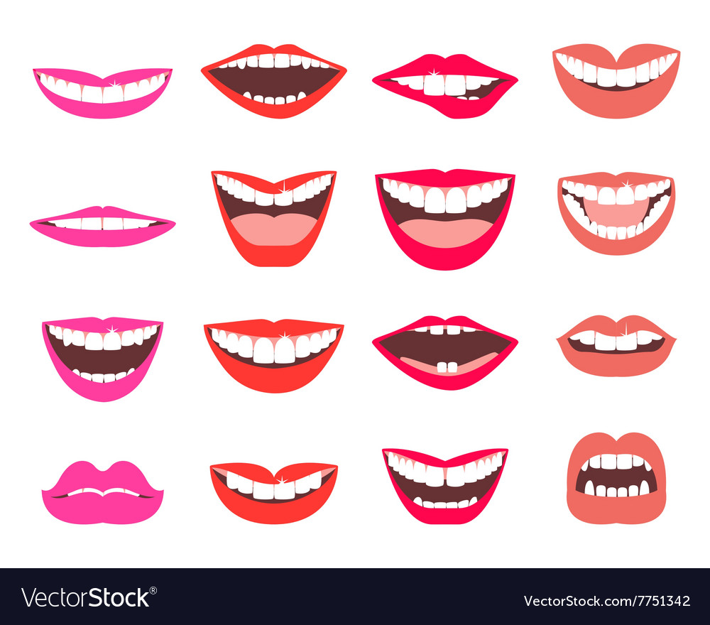 Funny smiles set vector