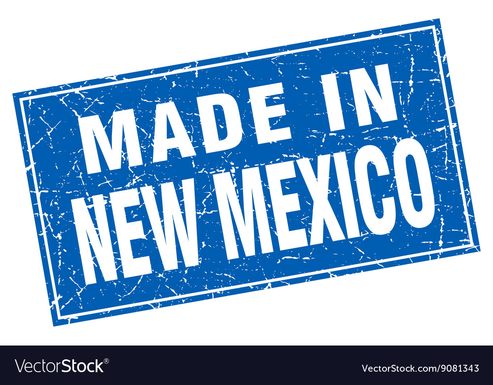 New mexico blue square grunge made in stamp vector