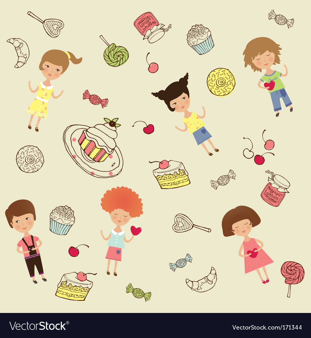 Cakes and sweets cartoon vector