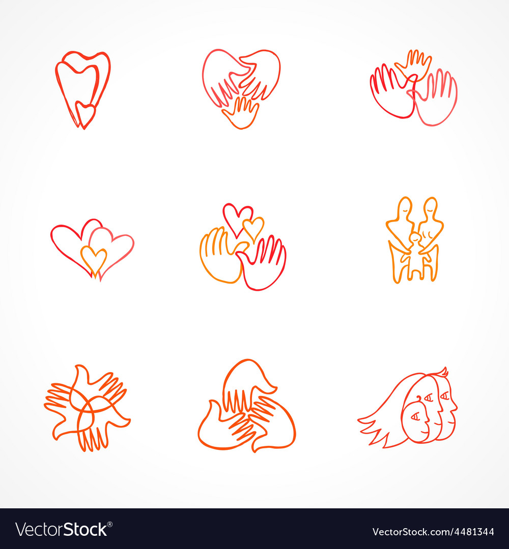 Set of family logos vector