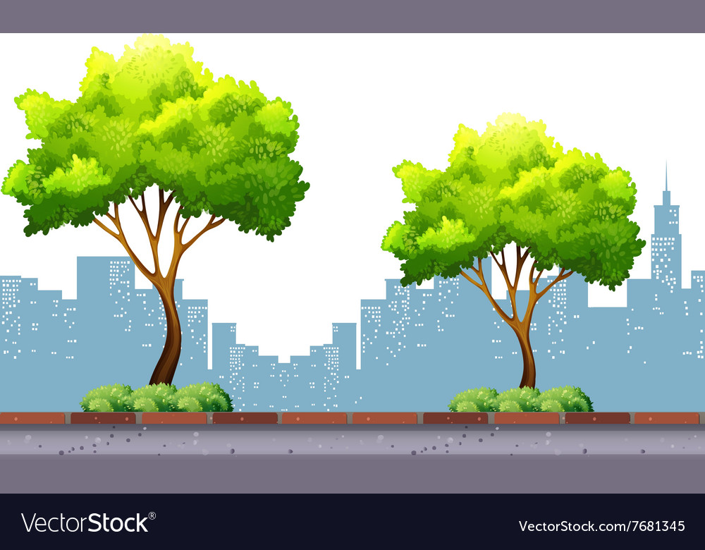 Trees on the pavement with city background vector