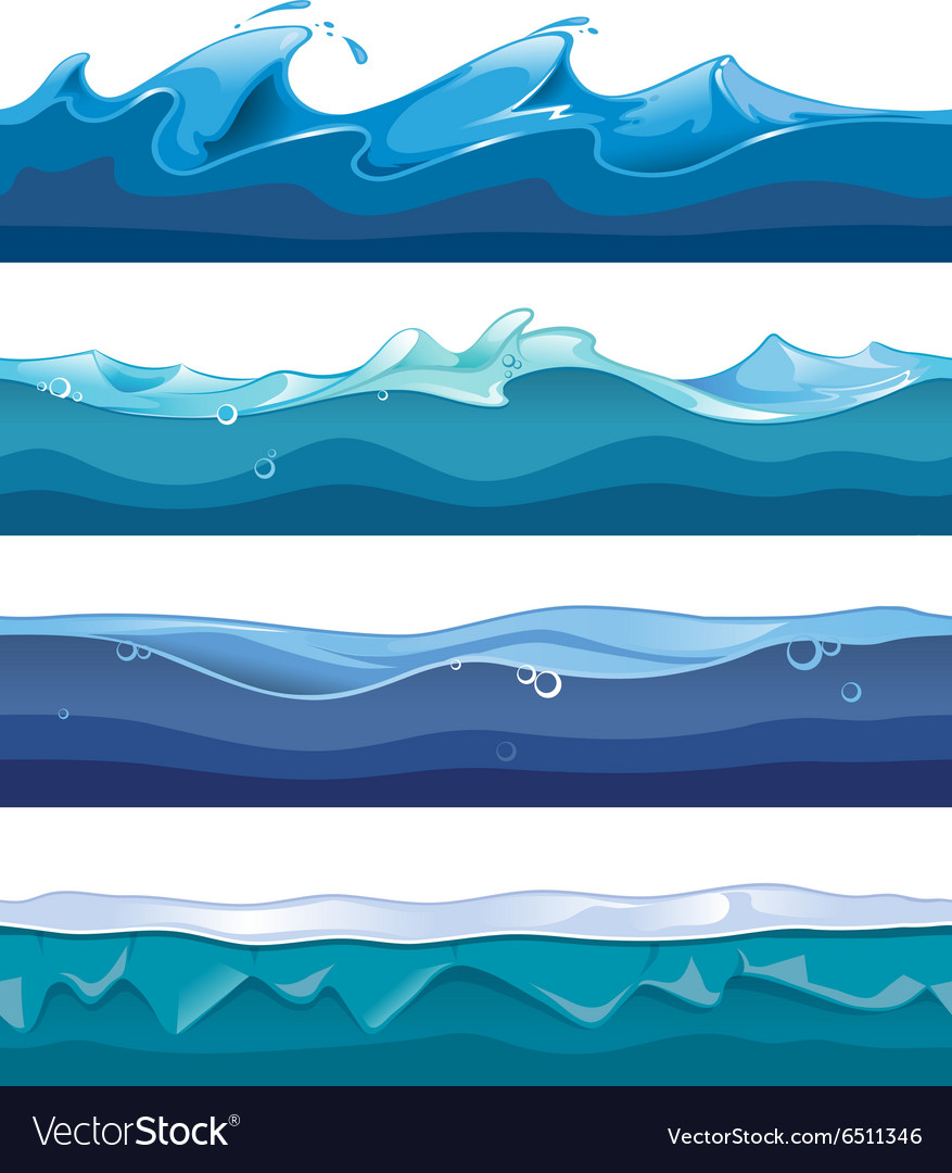 Seamless ocean sea water waves vector