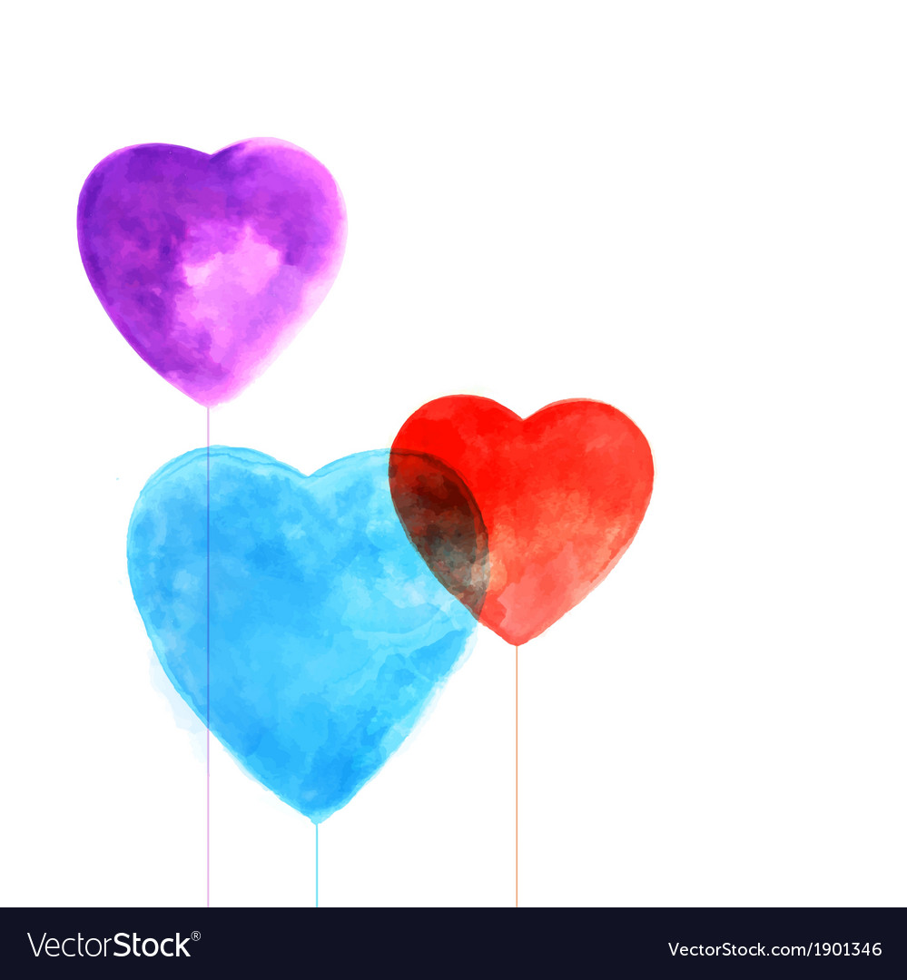 Watercolor beautiful hearts vector