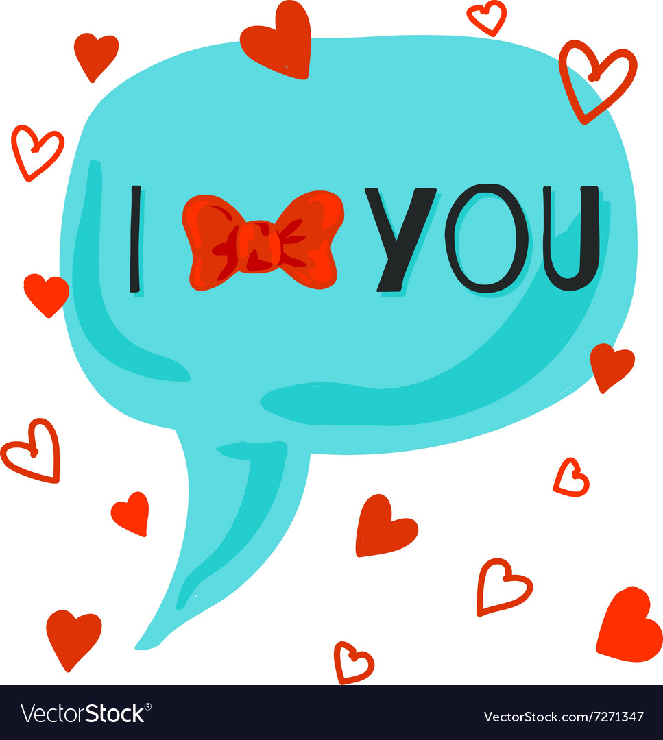 I love you card with bowknot vector