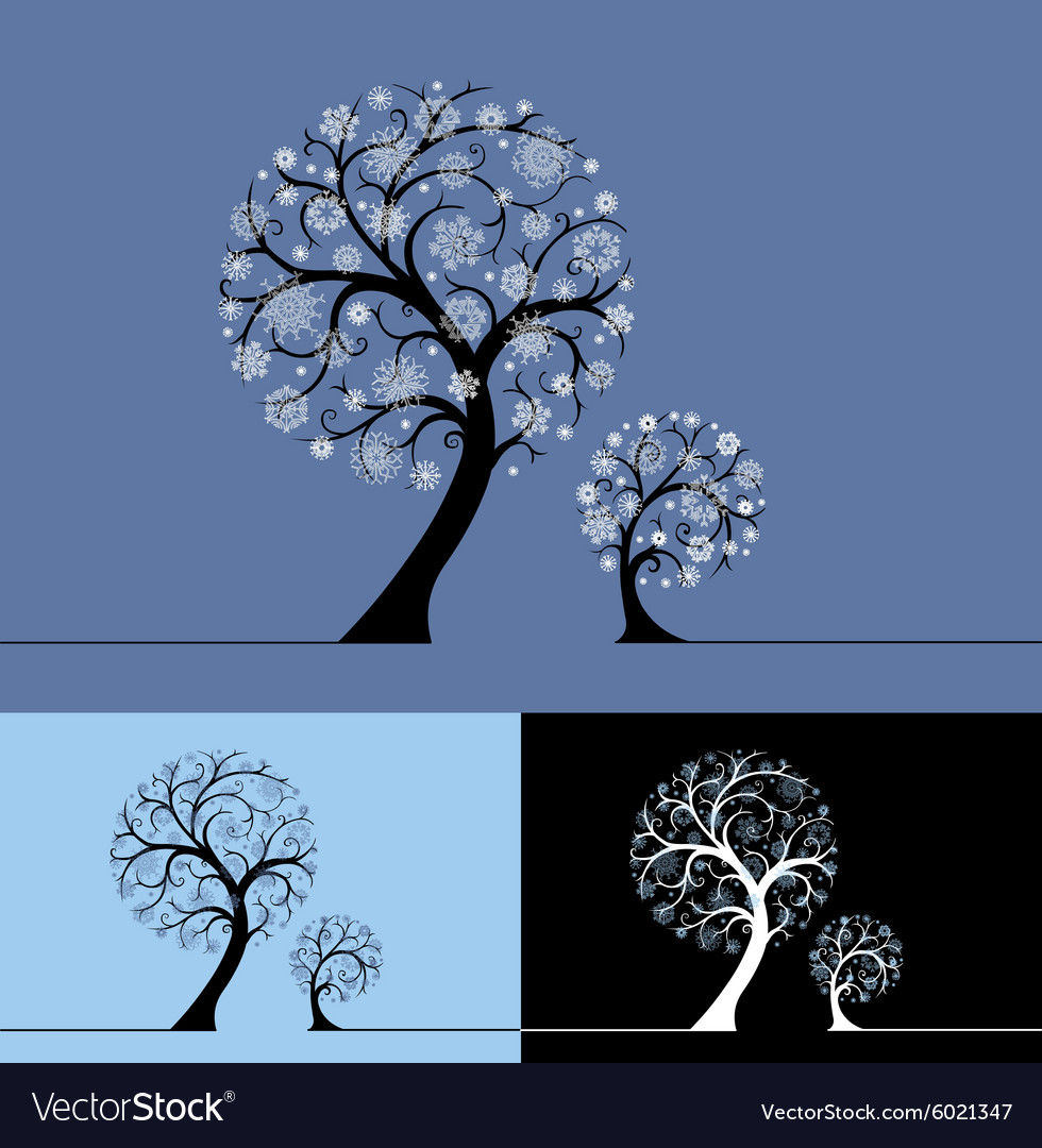 Snow trees vector