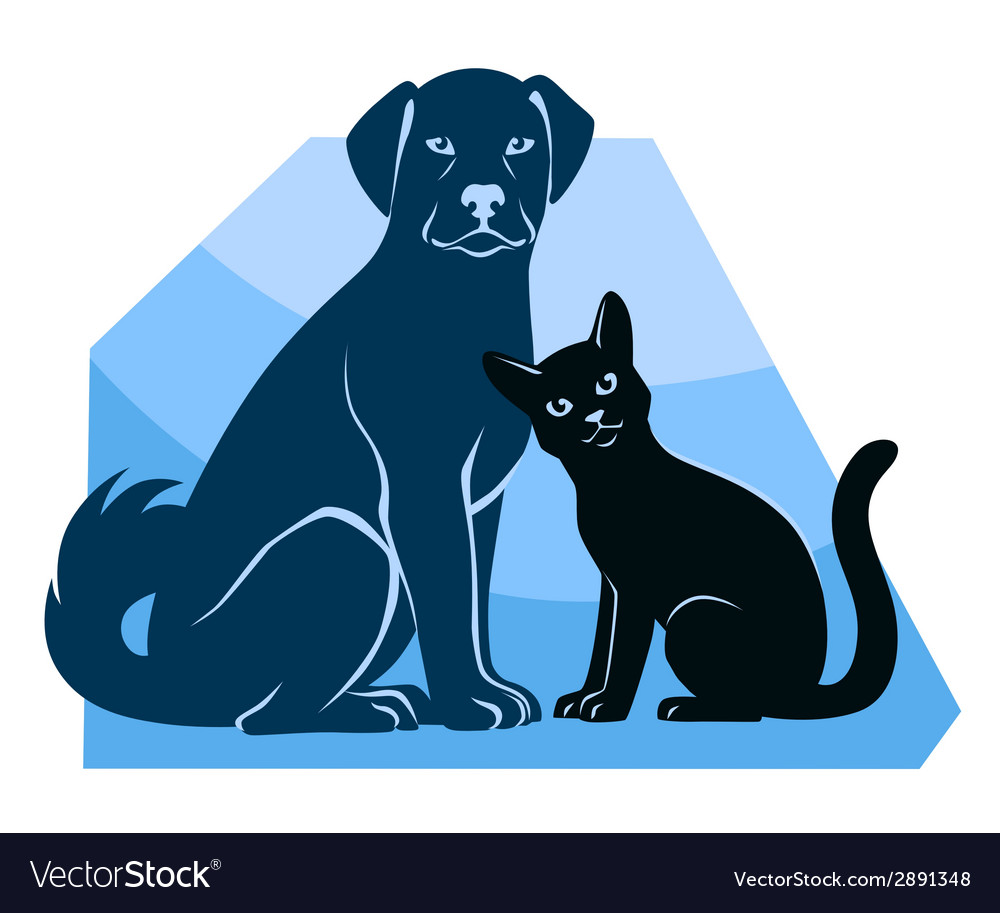 Cat and dog sitting silhouettes vector