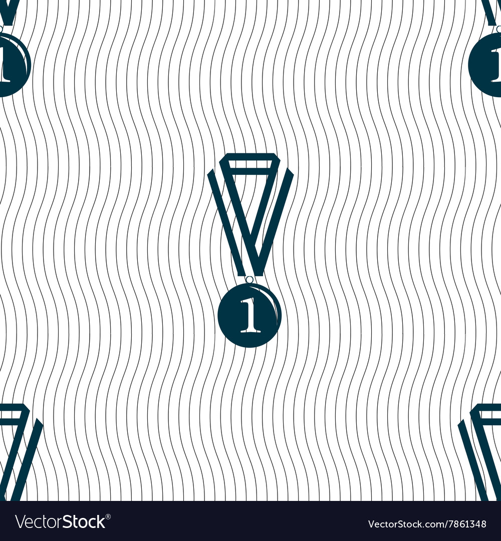 Medal for first place icon sign seamless pattern vector