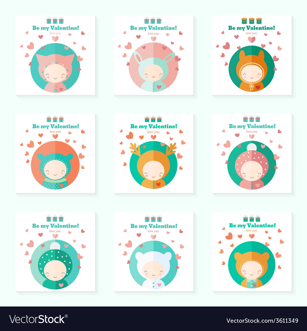 Childish cards with cute characters for valentines vector