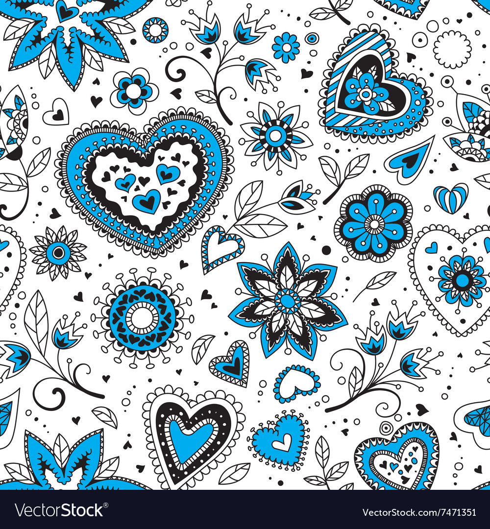 Love hearts seamless pattern 1 vector