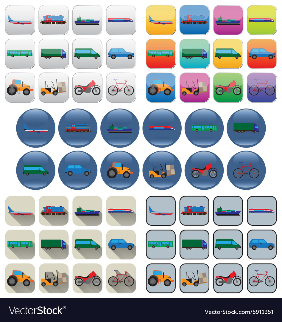 Transport icons in various styles vector