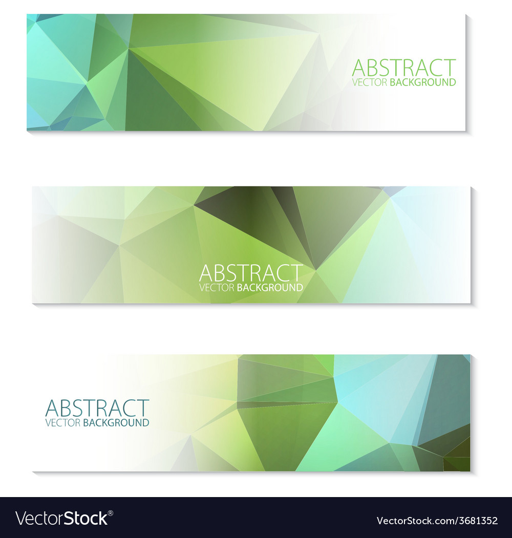Abstract banners set in polygon style vector