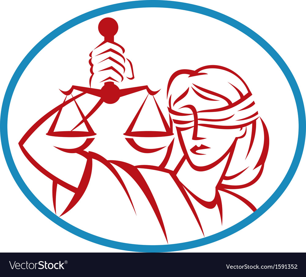 Lady holding up scales of justice vector
