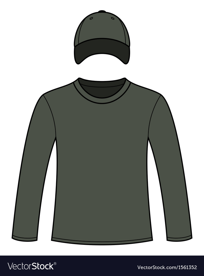 Longsleeved tshirt and cap template vector