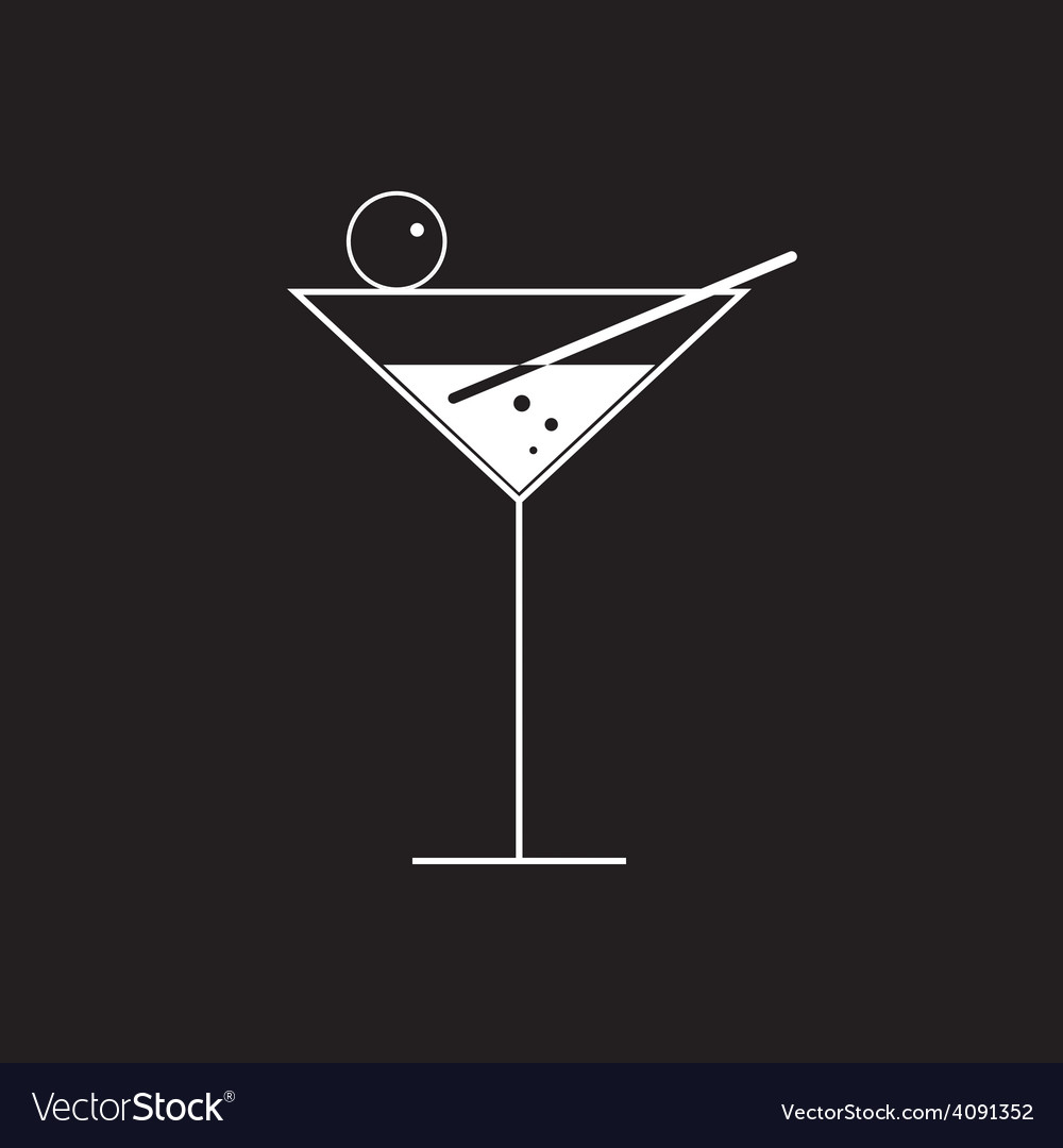 Martini glass on black vector