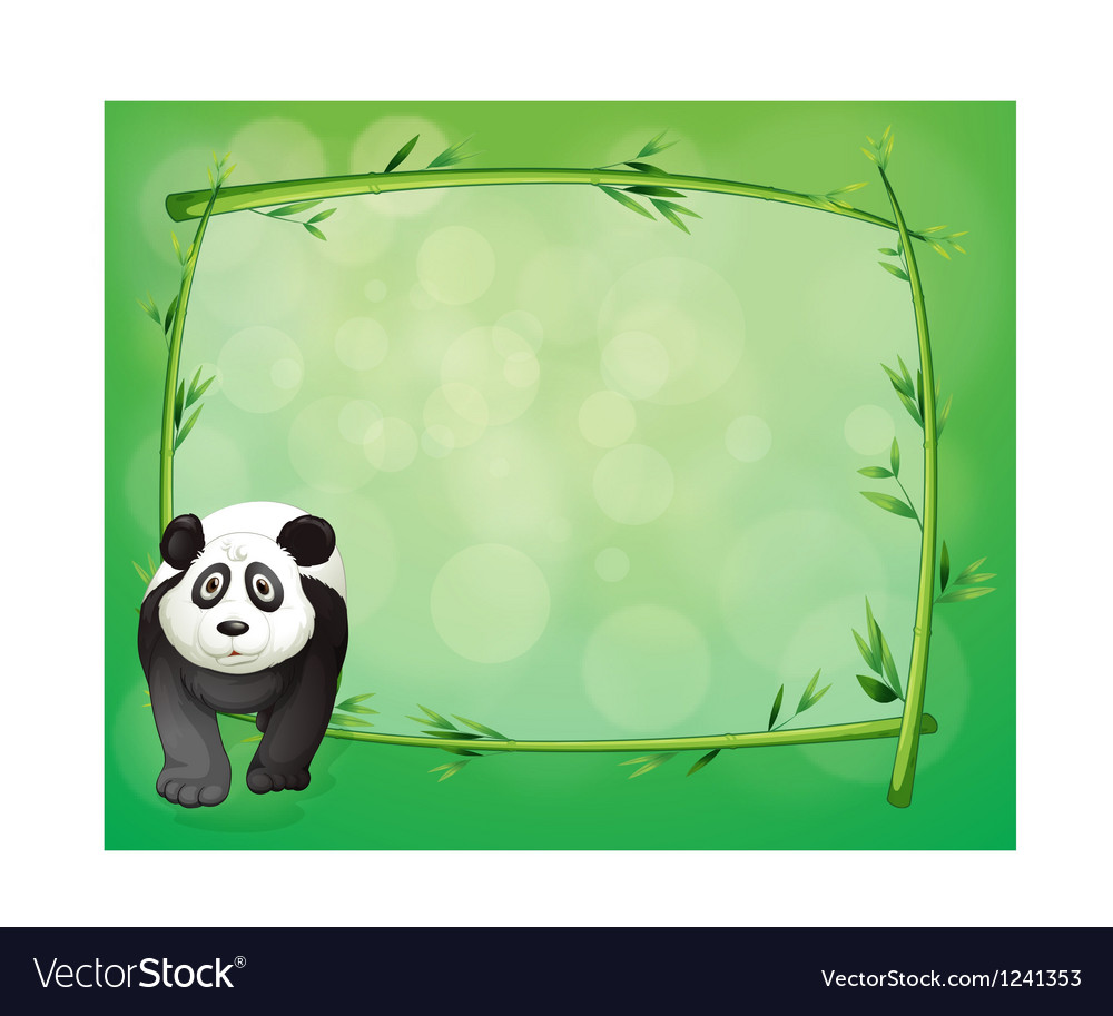 A big panda beside a bamboo frame vector