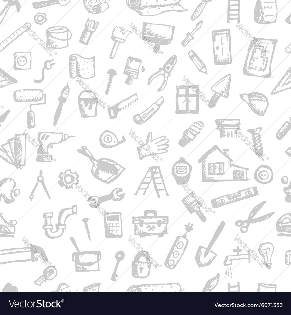House repair seamless pattern for your design vector