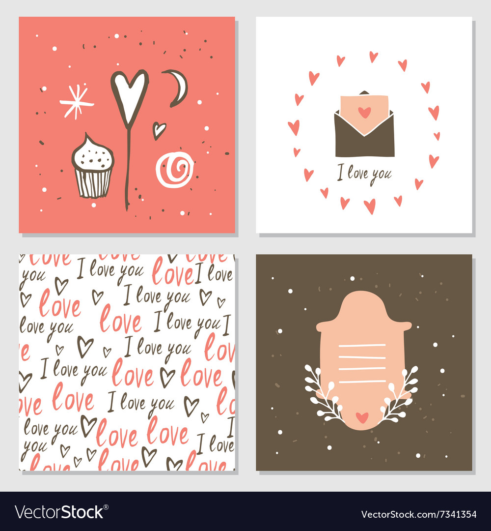 Cute cards with love lettering seamless background vector