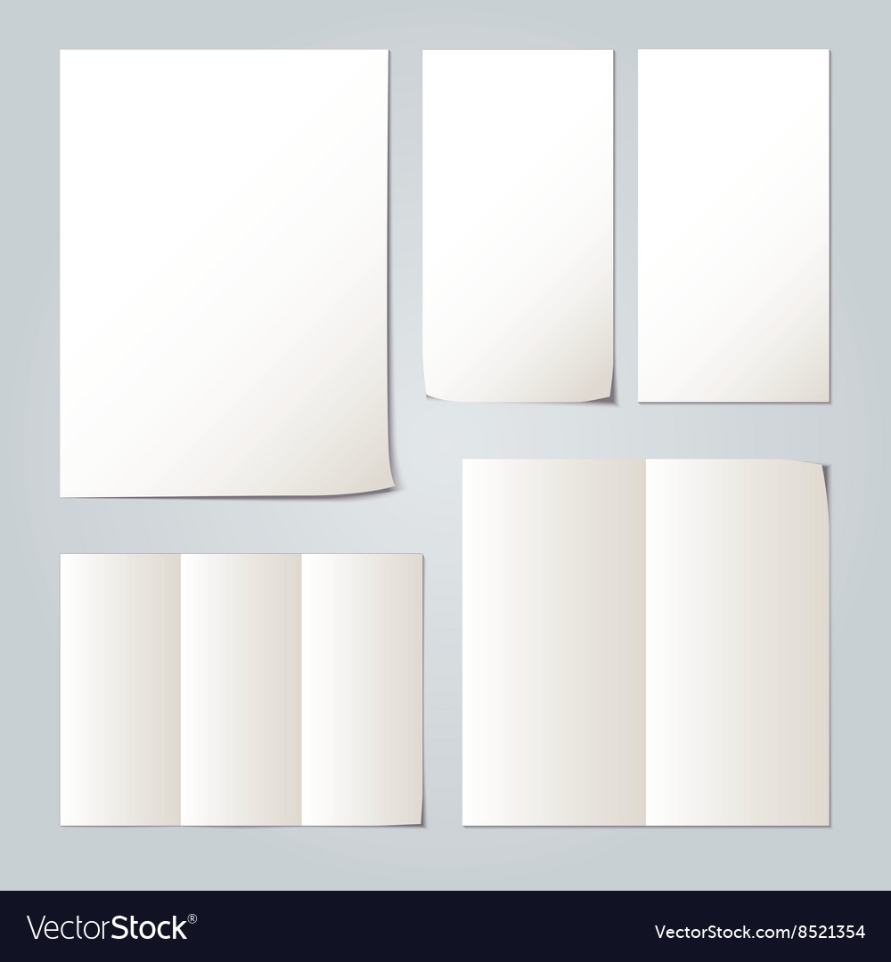 White folded paper set collections vector