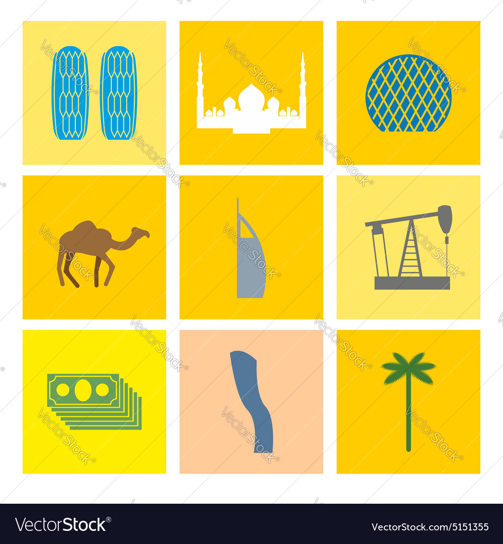 Uae landmark icons set camels and oil pumps palm vector