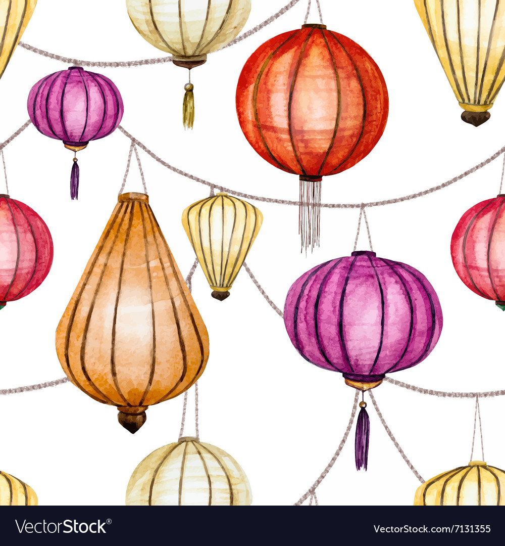 Watercolor seamless chinese pattern vector