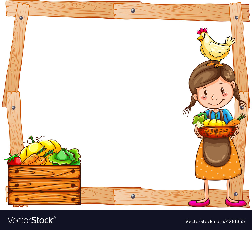 Wooden frame with a young vendor vector