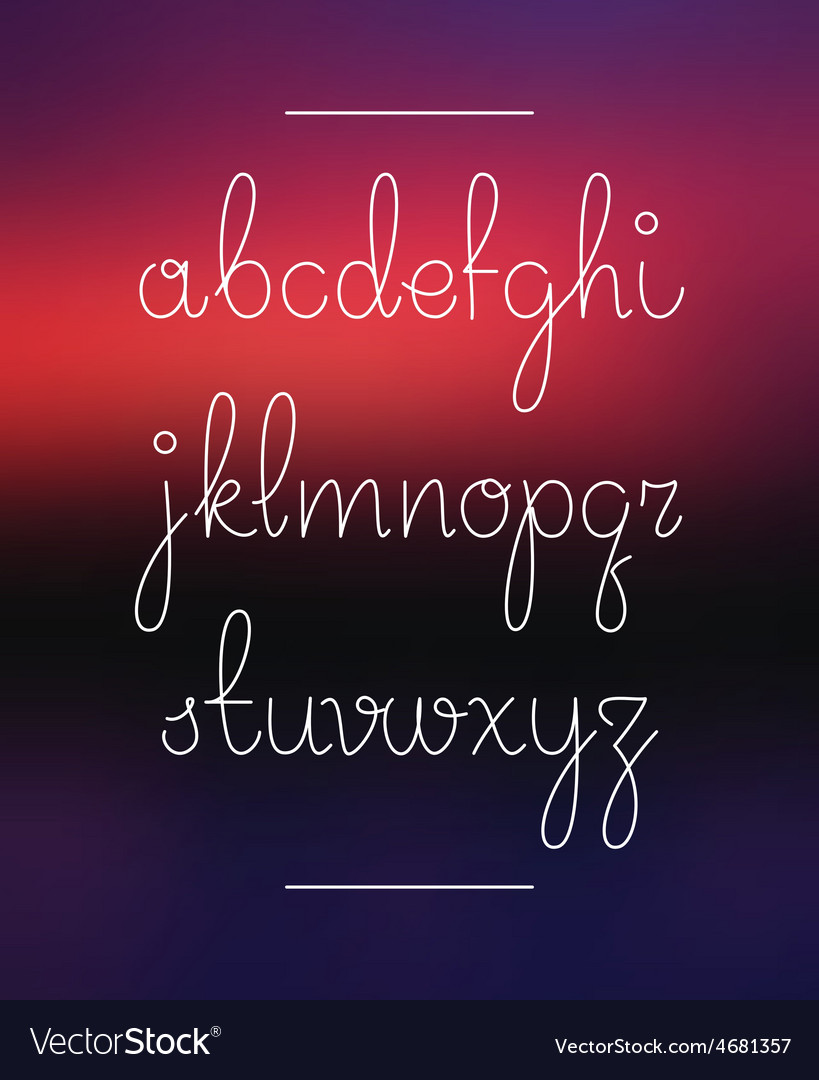 Neon hand lettering drawn font alphabet vector