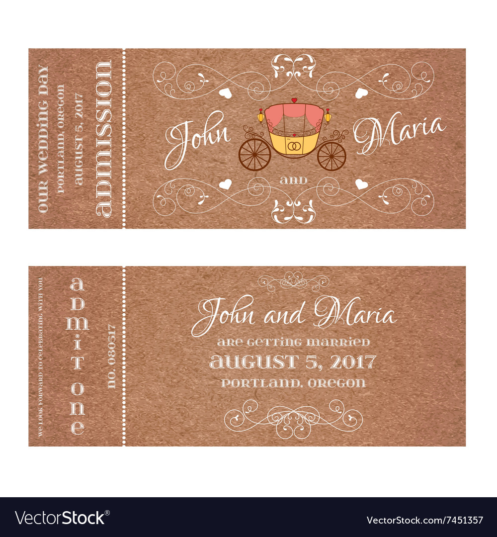 Ticket for wedding invitation with retro carriage vector