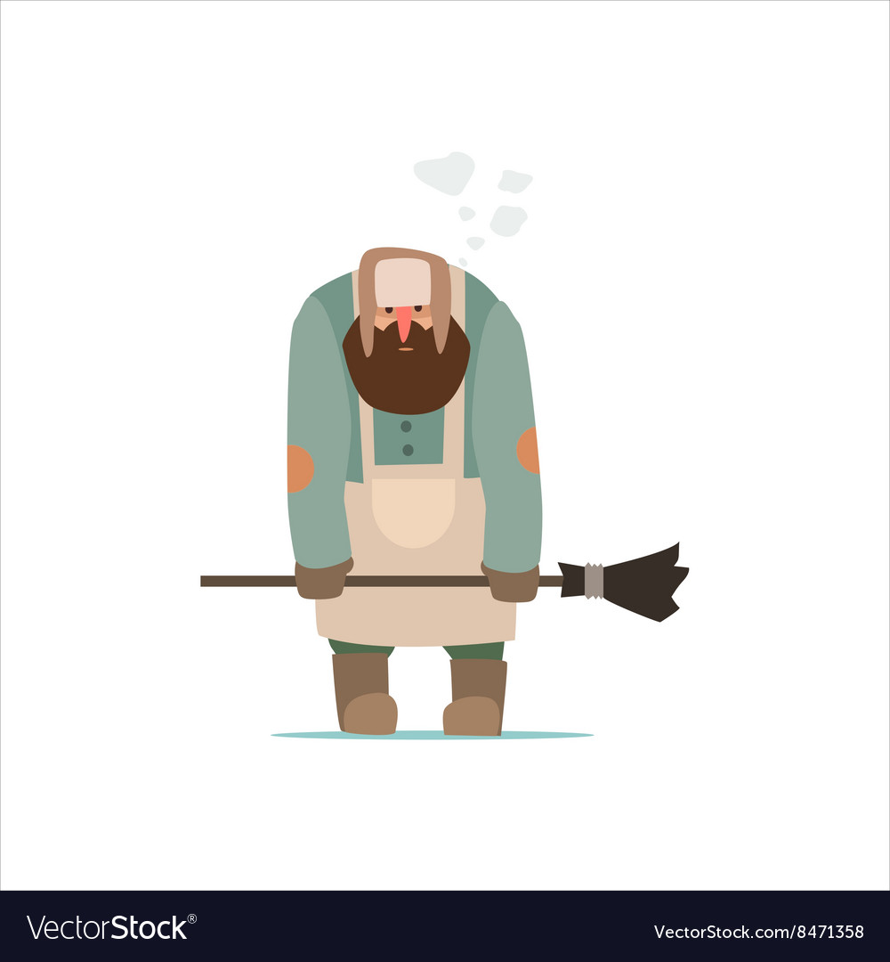Unhappy street cleaner vector