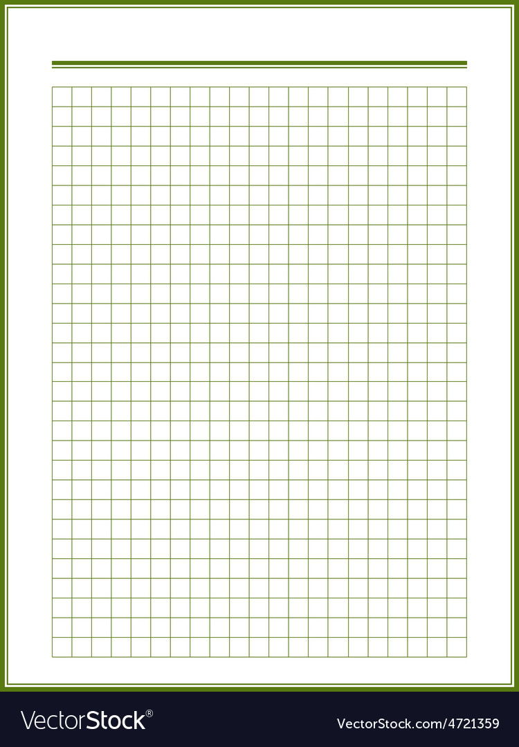 Paper sheet with green squares vector