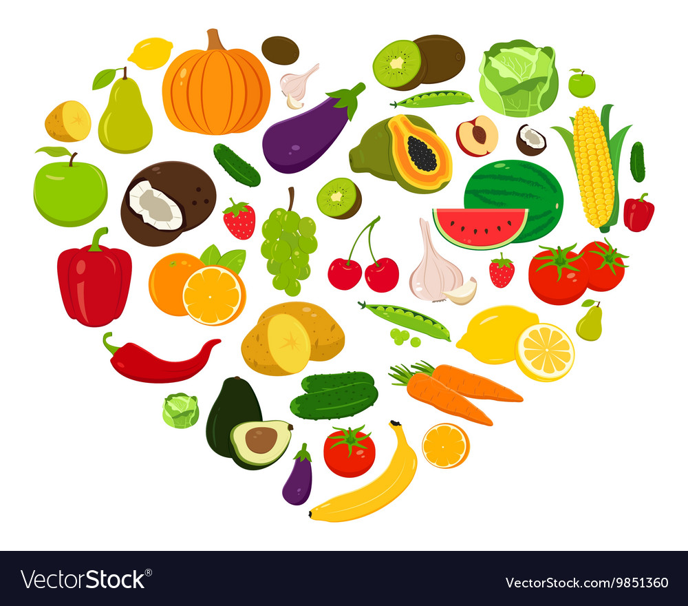 Heart shape with fruits and vegetables vector